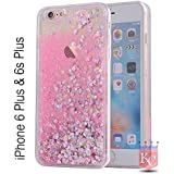 KC Perfume Bottle Liquid Glitter Hearts Case Soft Transparent Back Cover for iPhone 6Plus/6sPlus (Pink)
