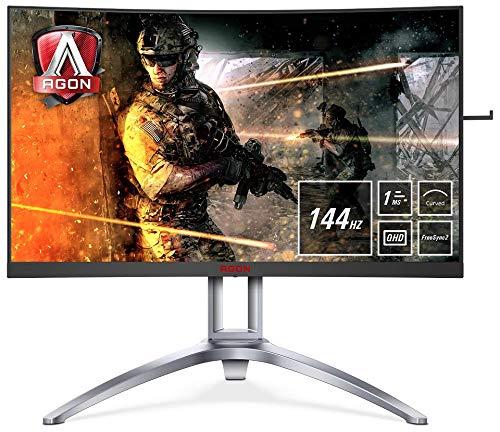 AOC Monitores AG273QCX - Pantalla para PC Curvo de 27' UHD 2K (resolución 2560 x 1440 Pixels, 144 Hz, 4ms, FreeSync 2, FlickerFree, LowBlue Mode, Altavoces, VESA, VGA, HDMI, Displayport, USB)