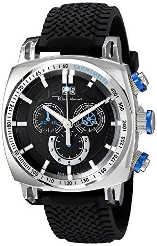 Ritmo Mundo Men's 2221/2 SS Blue Racer Analog Display Swiss Quartz Black Watch
