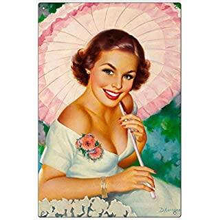 Tarfy Pretty Girl With A Parasol By Edward D'Ancon Wall Decoration Retro Vintage Tin Sign Decoration Bar Coffee Cafe Afternoon Tea Barbecue Shop