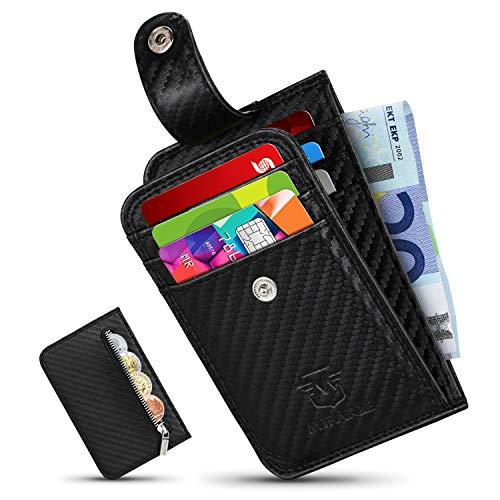 Mirakle Geldbeutel Herren klein, Ausweis- und Kreditkartenetui Kohlefaser mit Münzfach & RFID-Schutz, Geldbörse Kleiner Dünner Praktischer, Brieftasche, Portemonnaie,7 Kartenfächern, Geschenkbox -