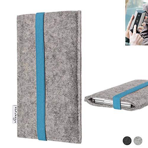 flat.design Handy Hülle Coimbra für Planet Computers Cosmo Communicator - Schutz Case Tasche Filz Made in Germany hellgrau türkis