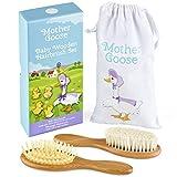 Yellodoor Juego de regalo de cepillo de pelo de Bebé de Madera Natural en bolsa con Cordón de Algodón Con Caja de Presentación