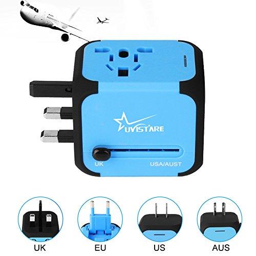 Uvistar Adaptador Enchufe Viaje con Dos puertos USB Universal Enchufe Conjunto de 2 de 3 pines 4 en 1 para US EU UK AU Japon Asia África Más de 150 Países .