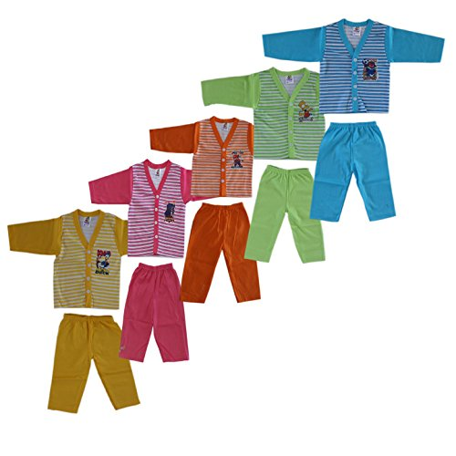 Toon Kids Multicolor Cotton Night Dress/Casual Dress For Boys/Girls(SIZE: 1-2 Years) Pack Of 5