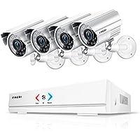 FREDI Überwachungskamera Set System Videoüberwachung CCTV 4-Kanal 720P 1MP AHD DVR Rekorder Überwachungskamera Outdoor Bulletkameras mit 4 720P innen/Außen IR Nachtsicht Bewegungsmelder