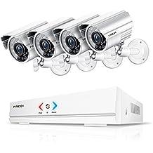FREDI Überwachungskamera Set System Videoüberwachung CCTV 4-Kanal 720P 1MP AHD DVR Rekorder Überwachungskamera Outdoor Bulletkameras mit 4 720P innen /Außen IR Nachtsicht Bewegungsmelder
