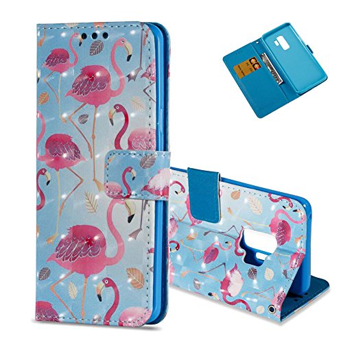 S9 Plus Leder Hülle,Galaxy S9 Plus Bookstyle Brieftasche, Aeeque Luxuriös 3D Glitzer Bling [Blau Rot Flamingos Muster] Kartenfächer Standfunktion Brieftasche Handycover für Samsung Galaxy S9 Plus (6.2 Zoll) Schutzhülle Portemonnaie Handy Tasche Taljereep Flexibel Silikon Innere Bumper Schale Etui PU Leder Wallet Case Cover (Auto-führerschein Halterung)