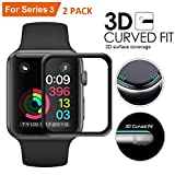 Lucbuy 2 PCS Displayschutzfolie für Apple Watch Serie 1-4 38 40 42 44 mm, iWatch HD TPU-Folie Weicher Schutz Full Cover mit gebogener Kante 3D Kratzfeste Version (2PCS-38mm)