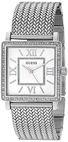 GUESS Women's U0826L1 Dressy Silver-Tone Watch with White Dial , Crystal-Accented Bezel and Mesh G-Link Band