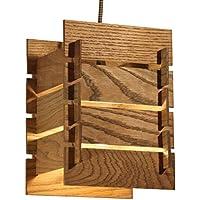 Deckenleuchte Holz KAYA - Pendellampe mit Textilkabel - braun - made in Germany - LED Designer Lampe - Massivholz Eiche E27 Schlafzimmer, Esszimmer, Wohnzimmer, Küche, Flur handgemachte Hängelampe