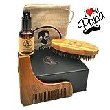 Kit cuidado de barba/kit de aseo para barba con artículos de CALIDAD PREMIUM: cepillo, peine de plantilla, aceite ORGÁNICO 100% NATURAL sin fragancia y bolsa de transporte, todo en una caja de regalo