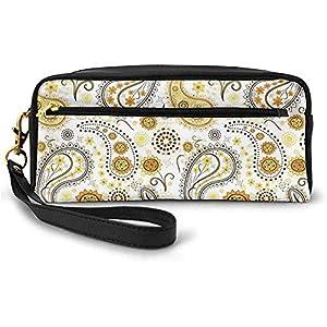 Patrón Floral Tribal étnico con Girasoles y Paisley Vintage Boho pequeña Bolsa de Maquillaje con Estuche de Cremallera 20cm * 5.5cm * 8.5cm