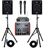 IMPIANTO AUDIO COMPLETO KARAOKE DJ 2 casse passive 10' + mixer amplificato BT-USB + 2 stativi + microfoni wireless + cavi