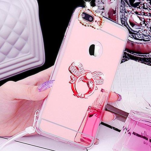 Coque iPhone 7 Plus, iPhone 7 Plus Coque Brillante, SainCat Ultra Slim TPU Silicone Case Cover pour iPhone 7 Plus, Coque Sparkles Bling Glitter Diamante Strass Miroir Anti-Scratch Soft Gel 3D Silicone Or Rose #3