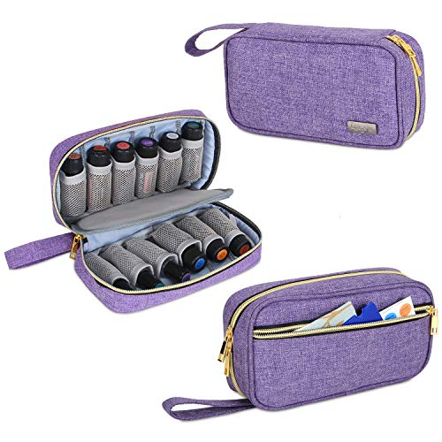 Luxja Ätherische Öle Aufbewahrung Tasche, Ätherische Öl Tasche - Hält 12 Flaschen (5ml-15ml, auch Geeignet für Rollerflaschen), Öle Tasche für Ätherisches Öl und Zubehör, Lila