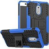 Shoppingmonk Tough Hybrid Armor Back Cover Case With Kickstand For Nokia 6 (Blue)