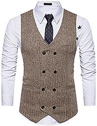 OEAK Gilet Costume Hommes Veste sans Manches Vintage Classique Gilet Ensemble Waistcoat Suit Slim Fit pour Parti Formal Business Mariage