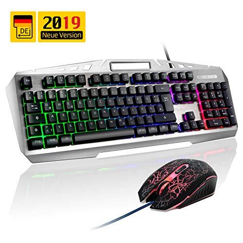 FLAGPOWER Gaming Tastatur und Maus Set Deutsch Layout, QWERTZ Beleuchtete Tastaturen mit Maus 105 Tasten PC Tastatur mit LED Hintergrundbeleuchtung USB Tastature für PC Laptop Computer MEHRWEG -