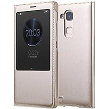 Prevoa ® 丨 Huawei Mate 7 Funda - Flip PU S- View Funda Cover Case para para Huawei Ascend Mate 7 6.0 Pulgadas Smartphone - Oro