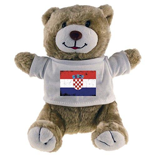 Multifanshop Kuscheltier Bär Fahne Retro Kroatien beige - Stofftier Püschtier Schmusetier -