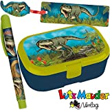 3-tlg. Schul-Set * T-REX * für die Grundschule   mit Kugelschreiber + Brotdose + Lesezeichen   Kinder Schule Einschulung Jungen Dino Lunchbox Stift