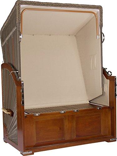 foolonli Strandkorb Luxus 2 Sitzer fachmänisch aufgebaut Blau gestreift Mahagoni Holz XXL