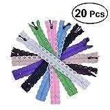ROSENICE 20 Stücke Spitze Reißverschlüsse Volle Länge 35cm für DIY Nähen Handwerk (zufällige Farbe)