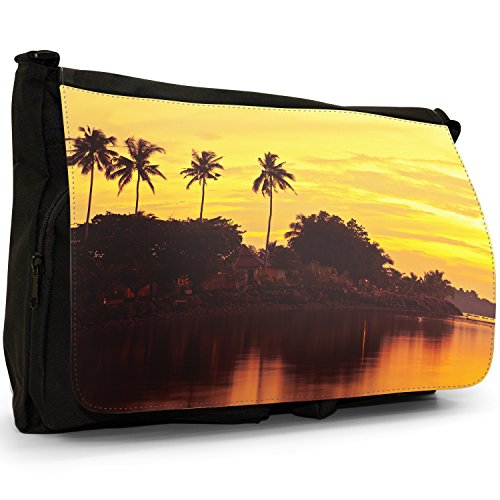 Fancy A Bag Borsa Messenger nero Sunset On Tropical Palms In Thailand Sunset On Tropical Palms In Thailand