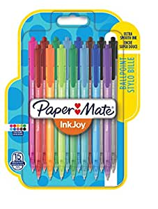 PaperMate InkJoy Retractable Ballpoint Pen with 1.0 mm Medium Tip - Assorted Standard Colours, Pack of 15