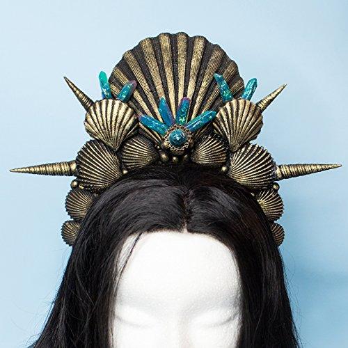 Call of Abyss Halo, Krone Tiara für Meerjungfrau Kostüm, Crown Stirnband mit schwarz gold Harz-Shells und grün und violett Kristalle