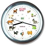 KOOKOO KidsWorld aluminio, reloj de pared genuino, sonidos de animales naturales, 12 animales de la ganja, ilustraciones Monika Neubacher-Fesser, sensor de luz