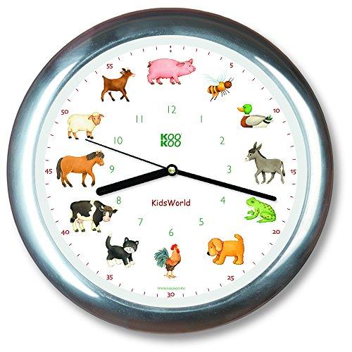 KOOKOO KidsWorld aluminium Wanduhr mit Tiergeräuschen Tieruhr Bauernhofuhr mit 12 Tieren vom Land mit Lichtsensor