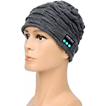 Cappello – Megadream® Inverno caldo staccabile Wireless Bluetooth + EDR Cuffia Audio MP3 Musica cuffia berretto con altoparlanti stereo e microfono vivavoce lavabile Cappello Unisex Inverno Wrinkle maglia Crochet Baggy Beret Beanie Cap regali di Natale per Fitness Outdoor Sport Ciclismo, Pesca Escursioni