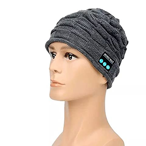 Arvin Bluetooth V3.0+EDR Magic Cap Music Knitted Hat Headphone Headwear with Handfree Call Answer and (Knit Womens Beanie)