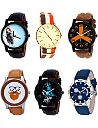 NIKOLA New Fashionable Mahadev Beard Style Black Blue And Brown Color 6 Watch Combo (B22-B50-B16-B55-B23-B56)...