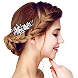 YAZILIND elegante tocado de pelo nupcial peine flores cubic zirconia accesorios de la boda del pelo del partido para las mujeres y las ninas (1pcs)