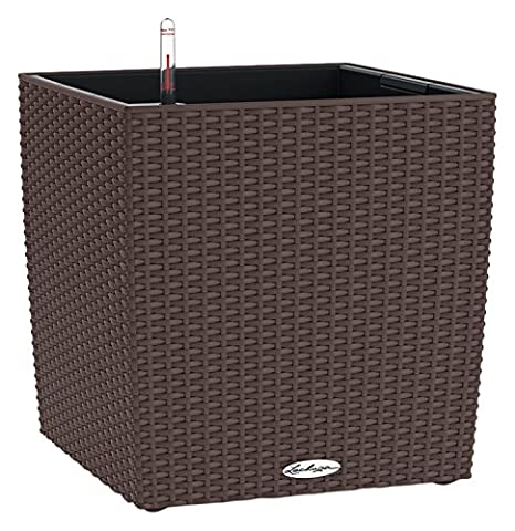 Lechuza Cottage Cube 40cm Rattan Look Mocha Self Watering Square