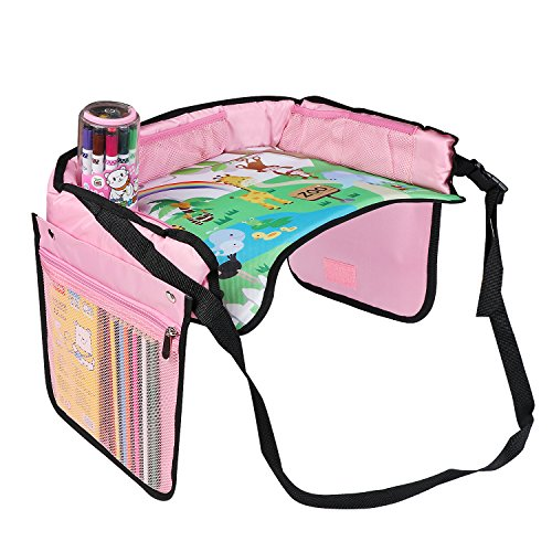 Kiptop Kids Travel Tray vassoio per snack e gioco per bambini per auto Bus treno e viaggi in aereo (rosa)