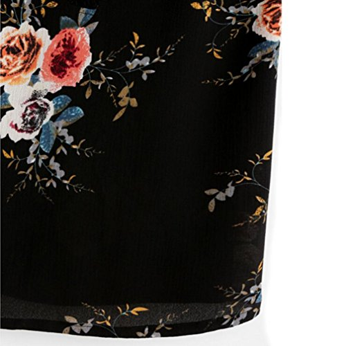 OverDose Trägershirts Flower Bestickte Strappy Cami Top Bluse tops Vest Weste Pulli B-Black