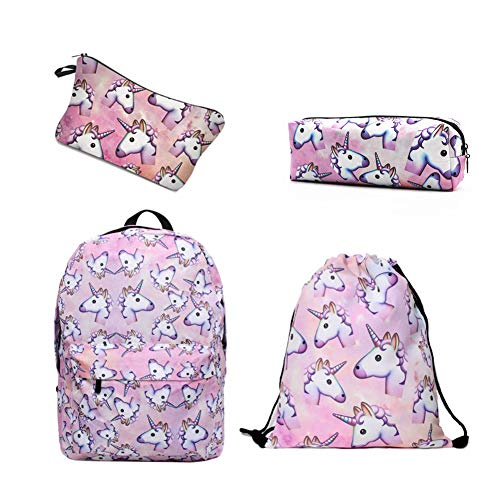 0bbcfc4691 Leah's fashion® Einhörner gedruckt Reisen Sie Freizeit Rucksack  Schultertasche für Kinder (pink)