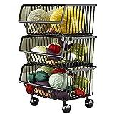 YANZHEN Küchen Schwerlastregal Draht-Regal-stehender Stabiler Obst-und Gemüse-Korb Mit Universalrad-Edelstahl, 2 Farbe 3 Größe (Farbe : SCHWARZ, größe : 41x35x69cm)