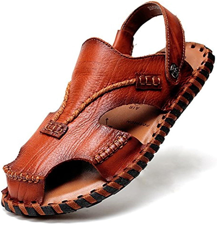 ZJM Sandale Mann Pantoffel Sandale Strand beschuht geschlossene Zehe entworfene weiche echtes Leder rutschfesteZJM Sandale Mann Pantoffel Sandale Strand geschlossene Zehe Leder rutschfeste Fischer Schuhe