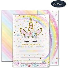 WERNNSAI Invitaciones con Sobres para la Fiesta de Baby Shower Decoraciones Accesorios de Unicornio Arcoiris para