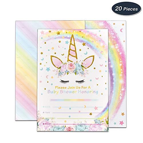 WERNNSAI Magische Einhorn Party-Zubehör Einladungen mit Umschlägen für Baby Shower Mädchen 20 Stück Einladungskarte