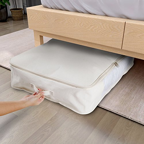 Lifewit 55L Foldable Under-Bed Storage Bag with Transparent Window Fabric Organizer for Beddings, Quilts, Blankets, Pillows, Garments, Sweaters, 29 x 20 x 6in (Small)
