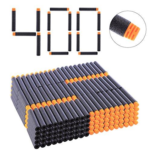 HYZH 400 Stück Hoch Gepuffert Foam Pfeile Patronen Darts Für Nerf N-Strike Elite Series Blasters-Orange + Schwarz