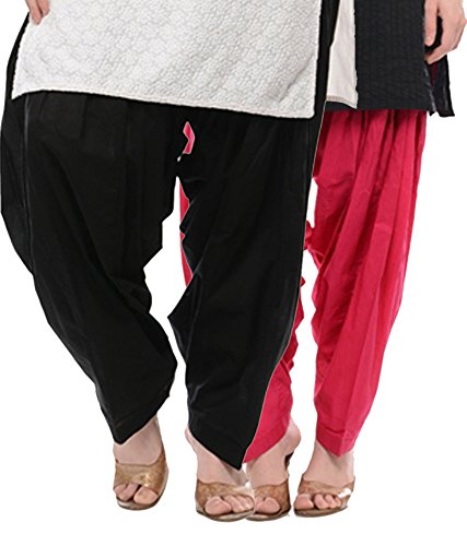 NGT Black And Rani Pink Pure Cotton Patialas For Womens