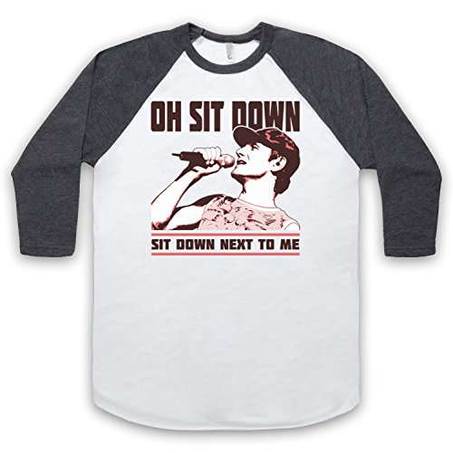 Inspiriert durch James Sit Down Unofficial 3/4 Hulse Retro Baseball T-Shirt Weis & Dunkelgrau