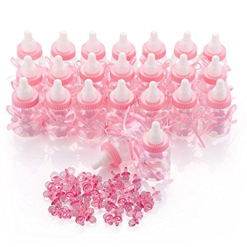 QILICZ 24 stück Flaschen Geschenk Box Gastgeschenke Taufe Baby-Süßigkeit Baby Candy Box Flasche Baby + 50 Mini Dekoschnuller für Mädchen Shower Babydusche Party Taufe Geschenkpaket Babyparty Rosa